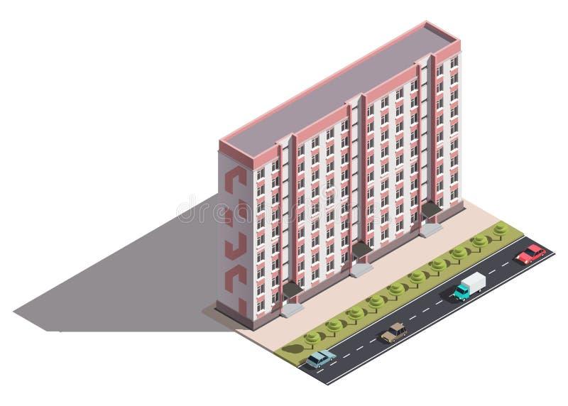 Jawny mieszkaniowy kondygnaci budować isometry royalty ilustracja