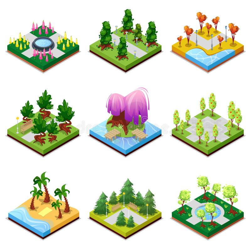 Jawny park kształtuje teren isometric 3D set ilustracja wektor