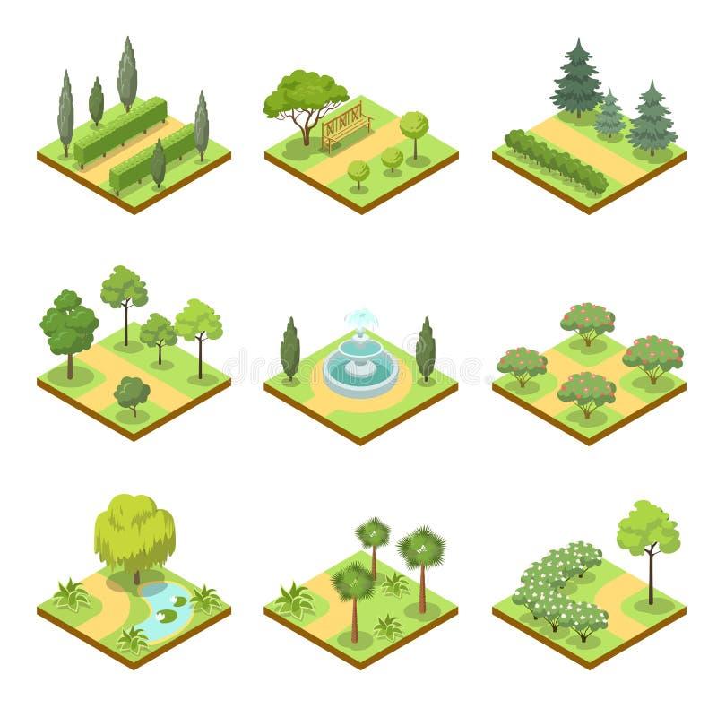 Jawny park kształtuje teren isometric 3D set ilustracji