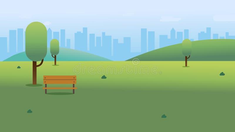 Jawny park z ławką w mieście z nieba i pejzażu miejskiego tłem Pi?kna natury scena z miasteczkiem i wzg?rzem royalty ilustracja