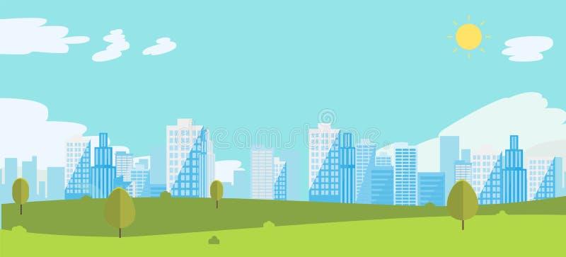 Jawny park z nieba i miasta t?em royalty ilustracja