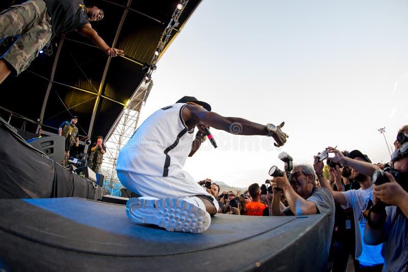 Jawny wróg w koncercie przy kłamstewko festiwalem (hip hop grupa) zdjęcie royalty free