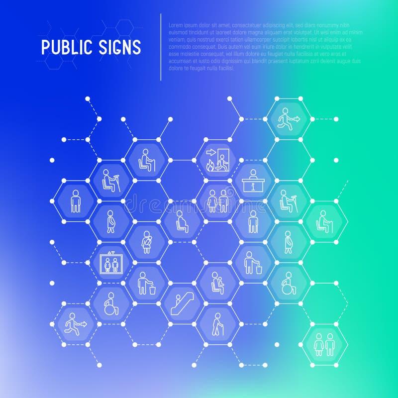 Jawny znaka pojęcie w honeycombs cienieje kreskowe ikony royalty ilustracja