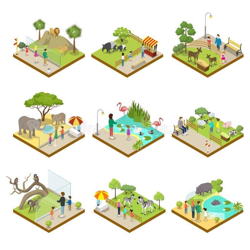 Jawny zoo kształtuje teren isometric 3D set ilustracji