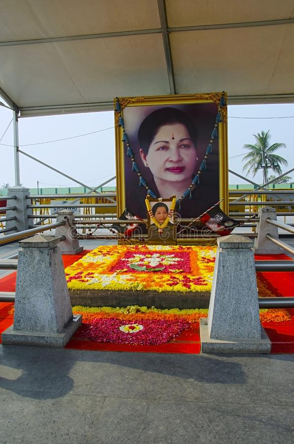 Jayalalithaa pomnik, Chennai, tamil nadu, India To jest Blisko MGR pomnika który buduje na Marina plaży, zdjęcie stock