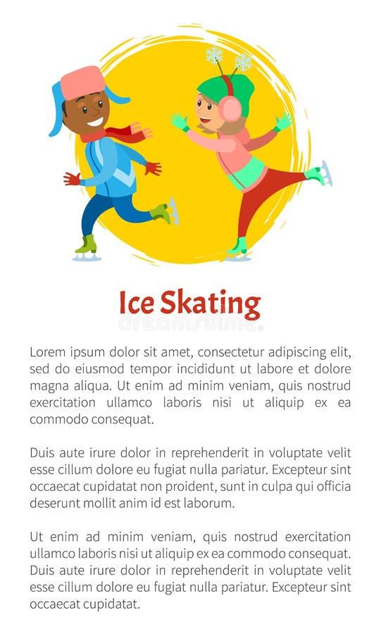 Jazd Na Łyżwach dzieci na lodowisko sztuki Wpólnie zimie ilustracji