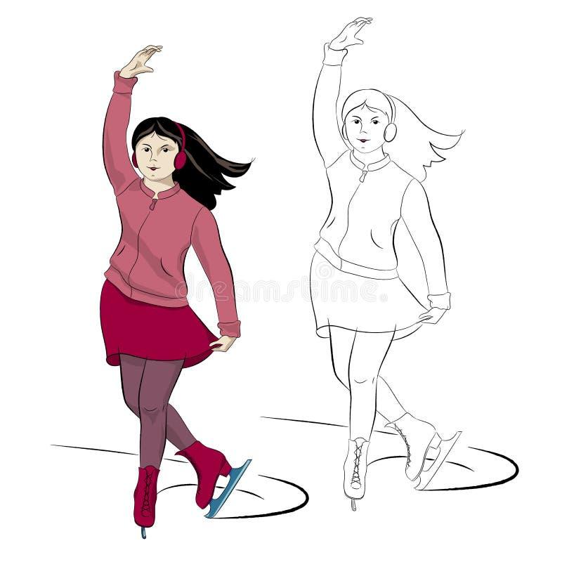 Jazda na łyżwach młoda dziewczyna w menchiach i czerwieni ilustracja wektor