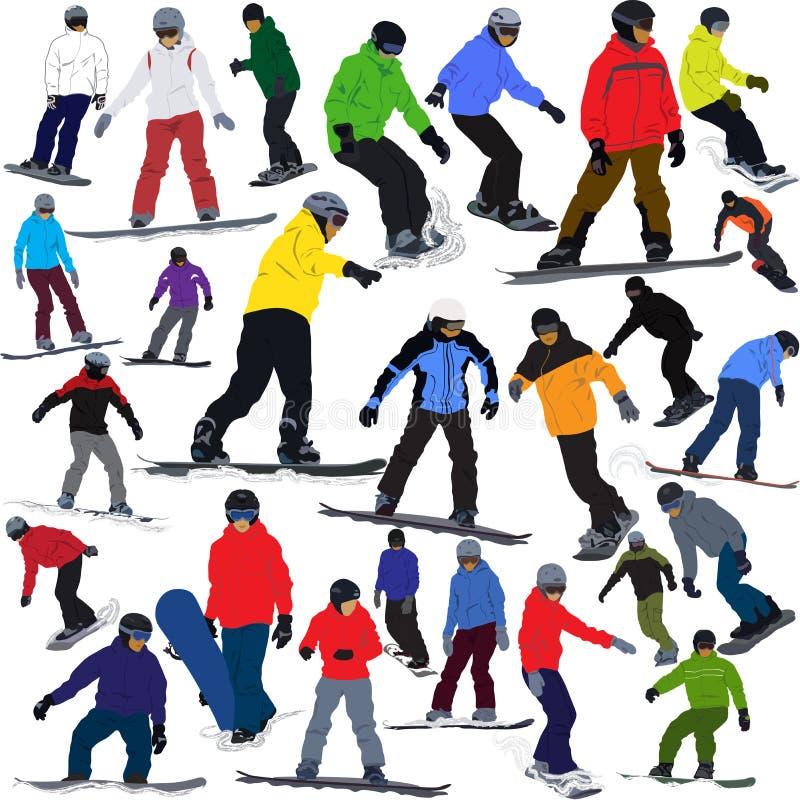 Jazda na snowboardzie ilustracja wektor