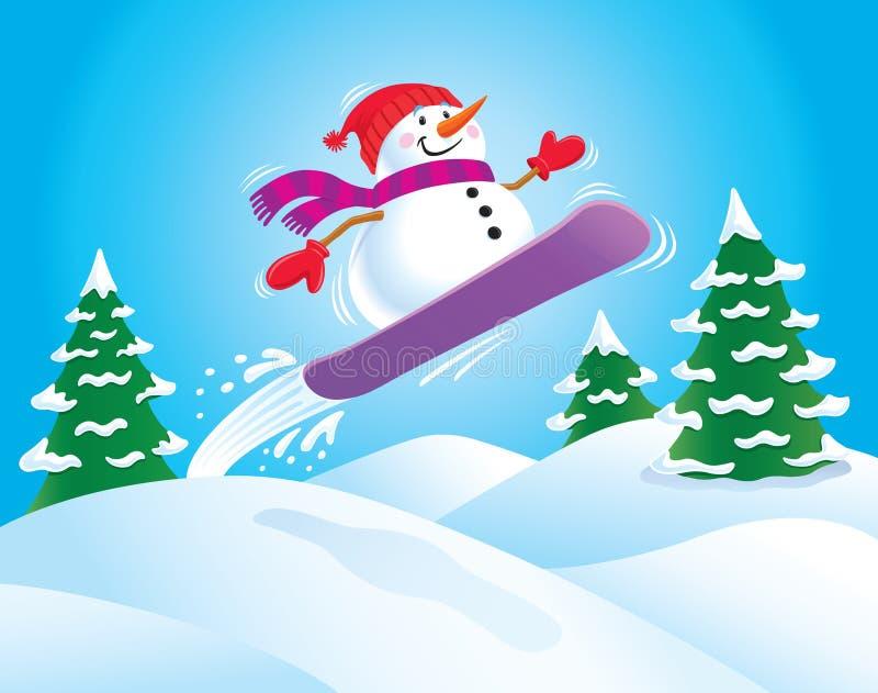 Jazda na snowboardzie bałwan ilustracja wektor