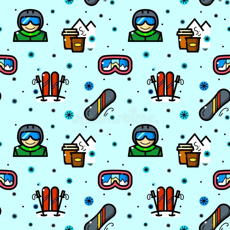 Jazda na snowboardzie bezszwowa deseniowa wektorowa ilustracja royalty ilustracja