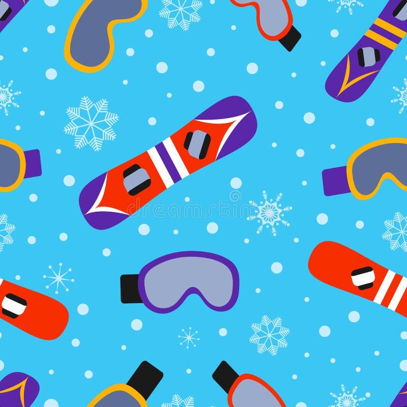 Jazda na snowboardzie bezszwowy wzór również zwrócić corel ilustracji wektora Zima outdoors powtarza teksturę Sporta wyposażenia  ilustracji