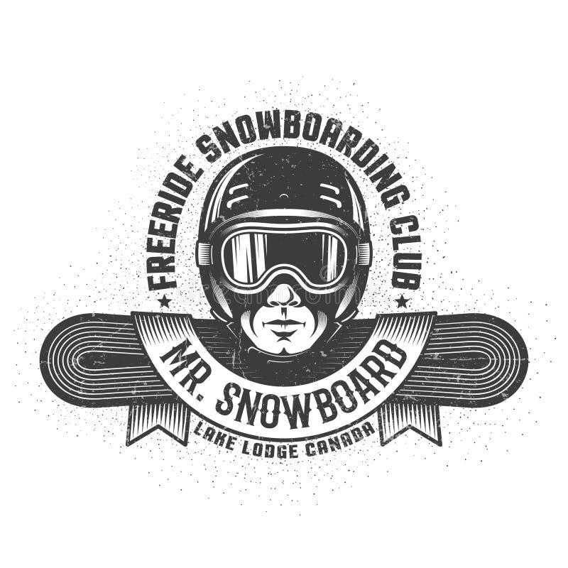 Jazda na snowboardzie logo z mężczyzna głową w hełmie i gogle ilustracja wektor