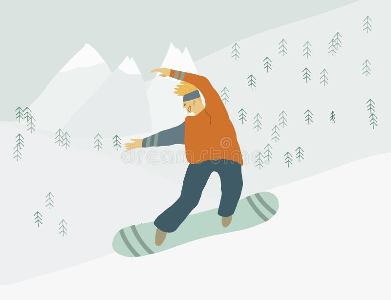 Jazda na snowboardzie mężczyzna na snowboard w zbocze góry Ludzkiej postaci w ruchu ilustracja wektor