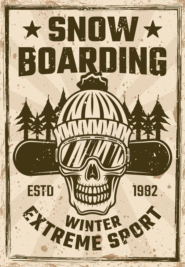 Jazda na snowboardzie rocznika plakat z snowboarder czaszką ilustracji