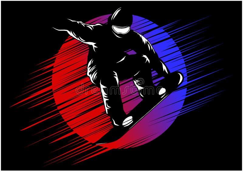 Jazda na snowboardzie stylizował symbol, szablon, wektorowego sylwetki, loga lub emblemata, ilustracji