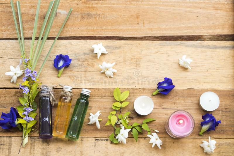 Jazm?n de la flor del extracto de los aceites, guisante de mariposa y Cymbopogon herbarios naturales fotografía de archivo