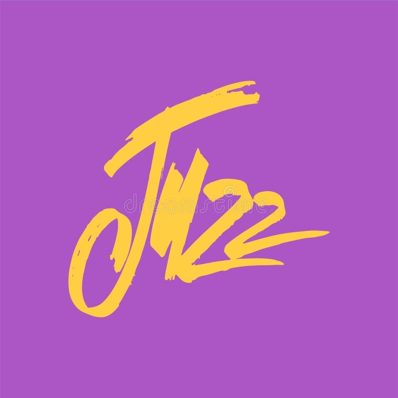 Jazz Εγγραφή μανδρών βουρτσών Διανυσματική επιγραφή μελανιού Σύγχρονο ύφος καλλιγραφίας Αφίσα μουσικής Τελειοποιήστε για τα γεγον διανυσματική απεικόνιση