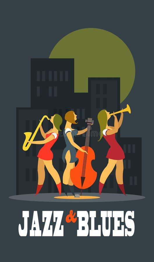Jazz και μπλε ελεύθερη απεικόνιση δικαιώματος