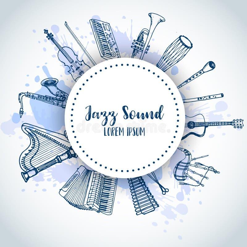 Jazz Background Music Instruments, conception de bannière Tambour, piaono, violon, guitare et saxophone tirés par la main sur la  illustration libre de droits