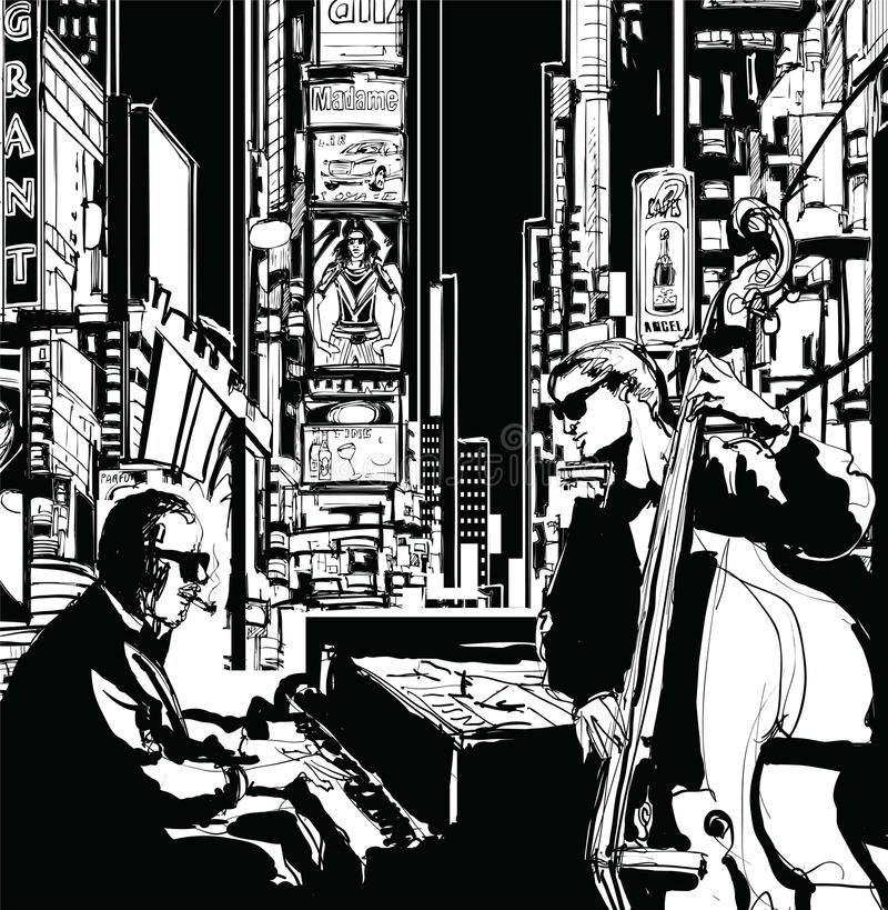 Jazz-band à New York illustration stock