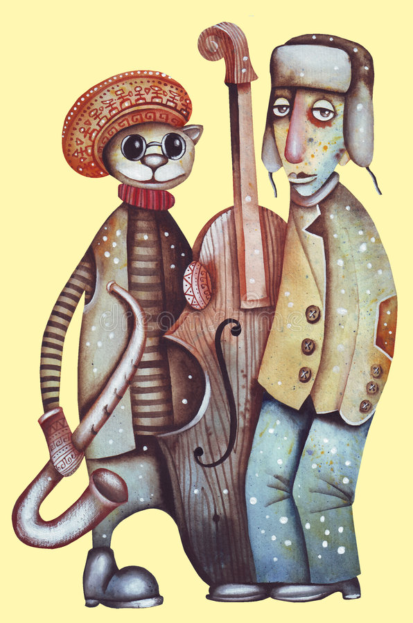 Jazz band. Original watercolor illustration of a jazz musicians stock illustration