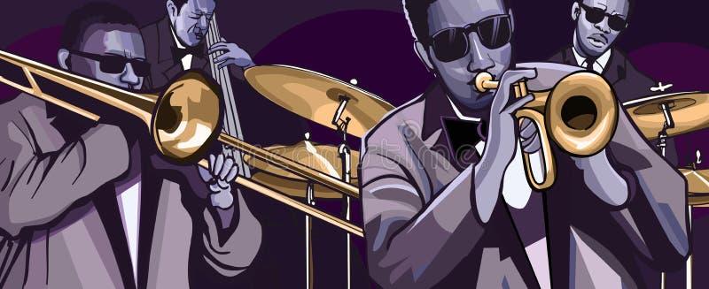 Jazz-band avec basse et le tambour de trompette de trombonne la double illustration de vecteur