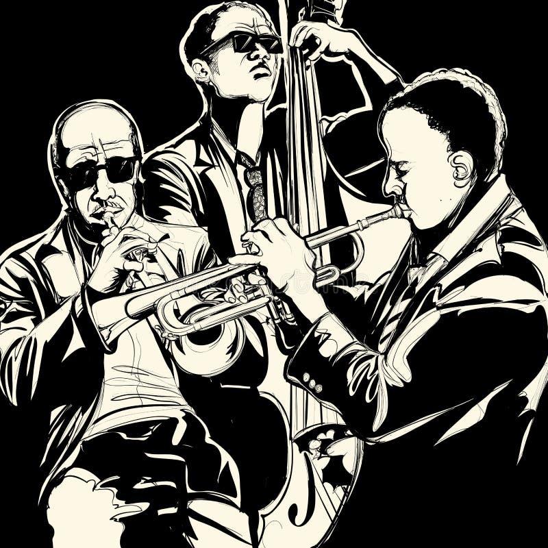 Jazz-band avec la trompette et la double basse illustration de vecteur