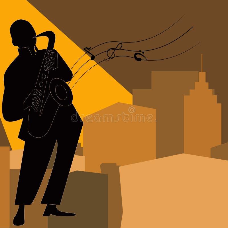 Jazz-band avec le chanteur, saxophone illustration libre de droits