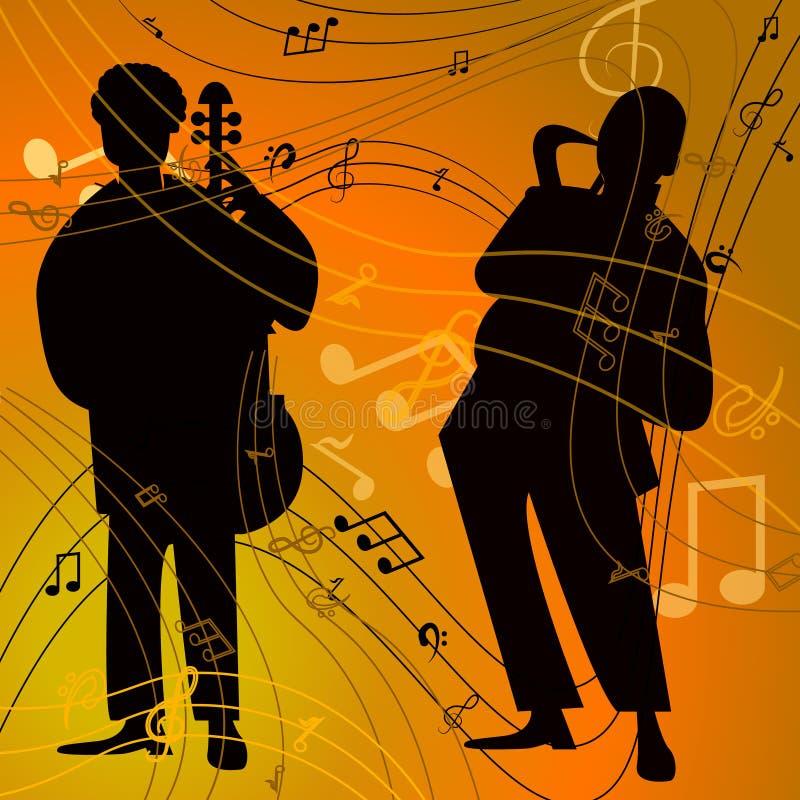 Jazz-band avec le chanteur, saxophone illustration stock