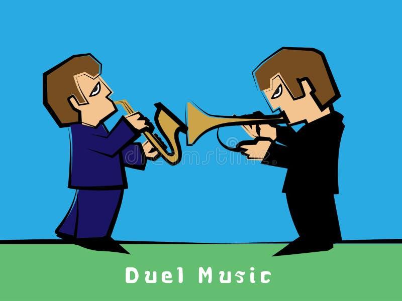 Jazz-band avec un saxophoniste de duel de trompettiste : Vecteur illustration stock