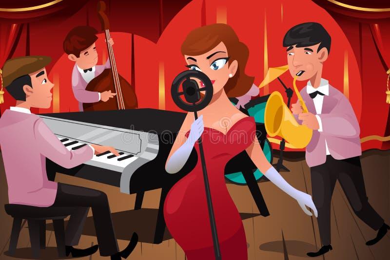Jazz Band avec une chanteuse illustration de vecteur