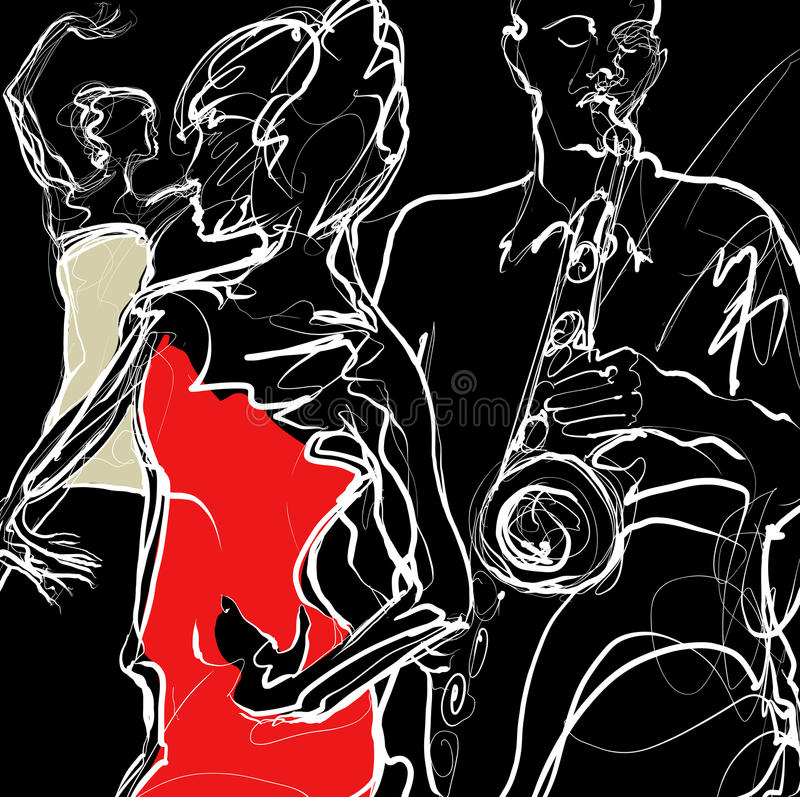 Download Jazz Band With Dancers Royalty Free Stock Images - Image: 27771309