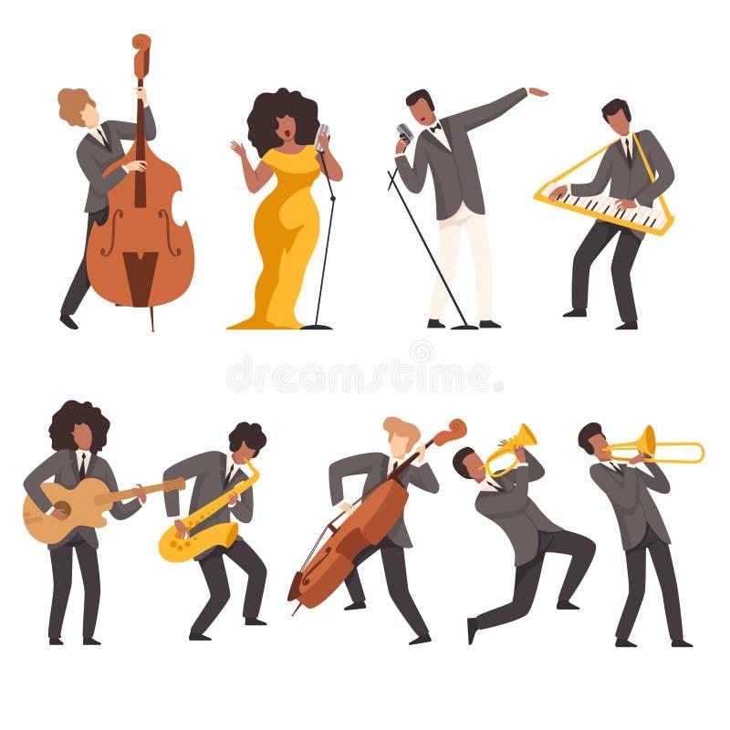 Jazz Band Group, Musici die en Trompet, Toetsenbord, Saxofoon, Trombone, Gitaar, Dubbele Baarzen, Vector zingen spelen stock illustratie