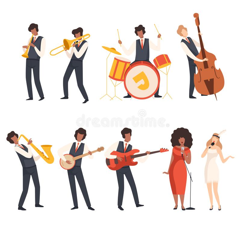 Jazz Band Group, Musicians Singing and Playing Trumpet, Banjo, Saxophone, Trombone, Drums, Guitar, Double Bass, Vector royalty free illustration