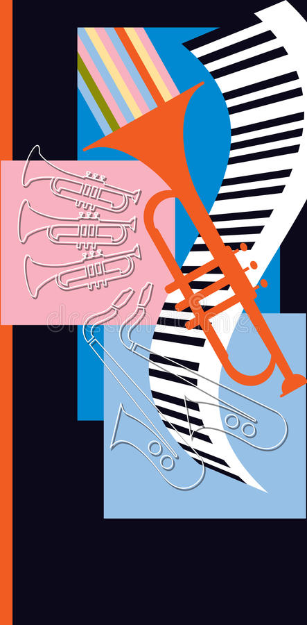 Jazz Band Instruments Play. Hot jazz, cool jazz, the band plays on! This retro-modern band jam is useful in a variety of applications - a full page ad, magazine stock illustration