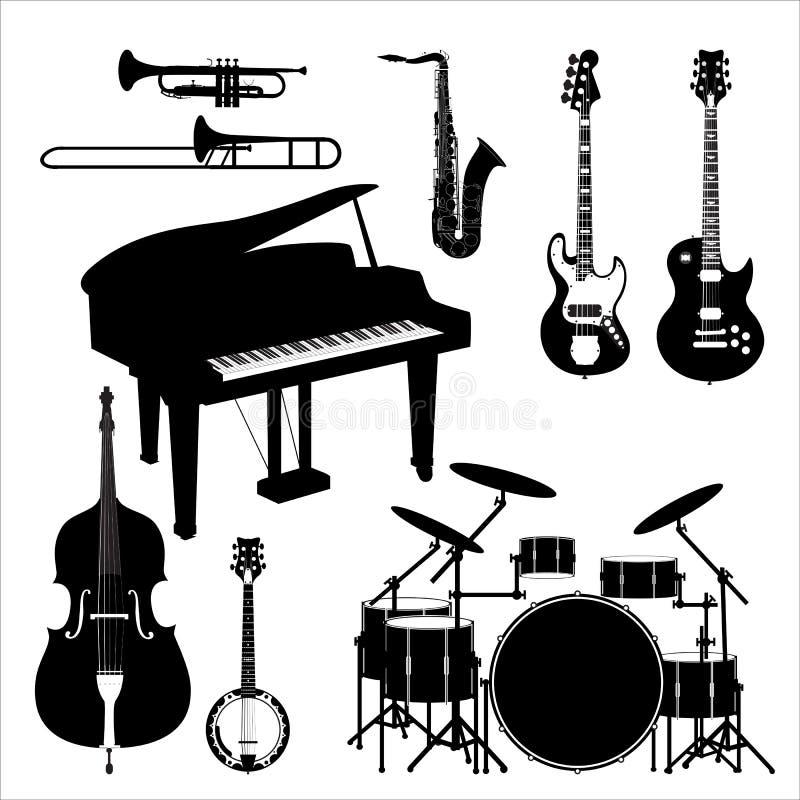 Jazz_band_instruments_set royalty-vrije illustratie