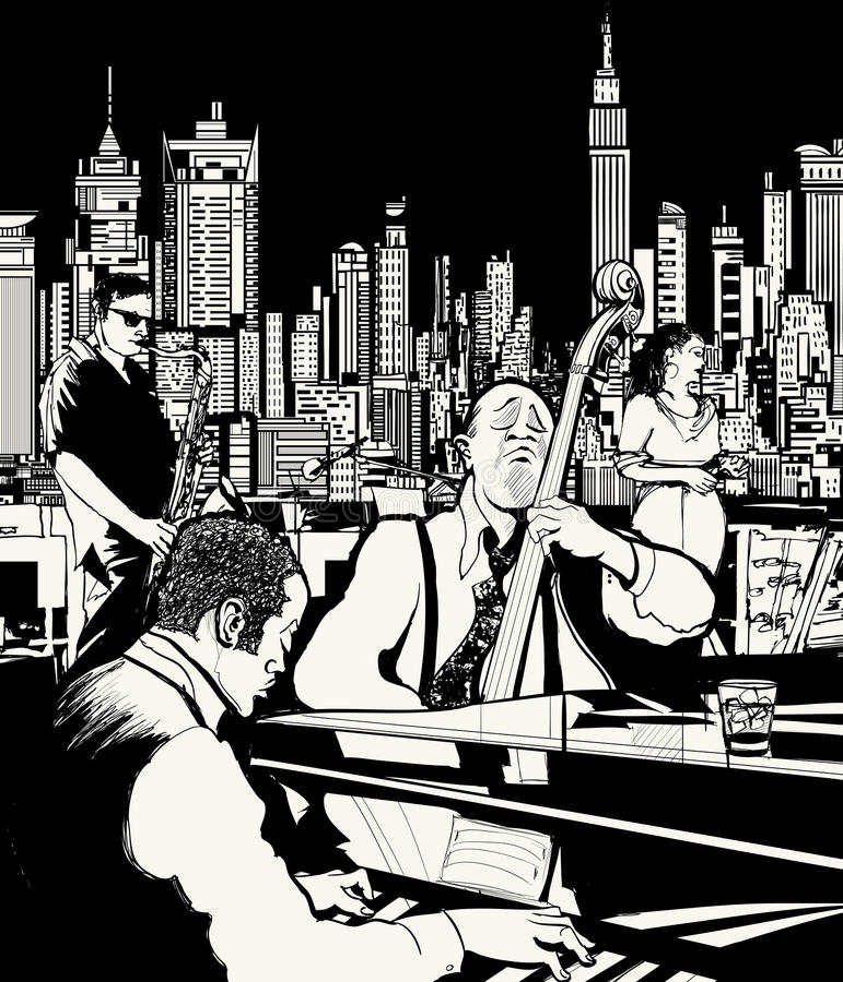 Jazz-band jouant à New York illustration stock