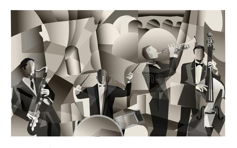 Jazz band in Paris stock illustration