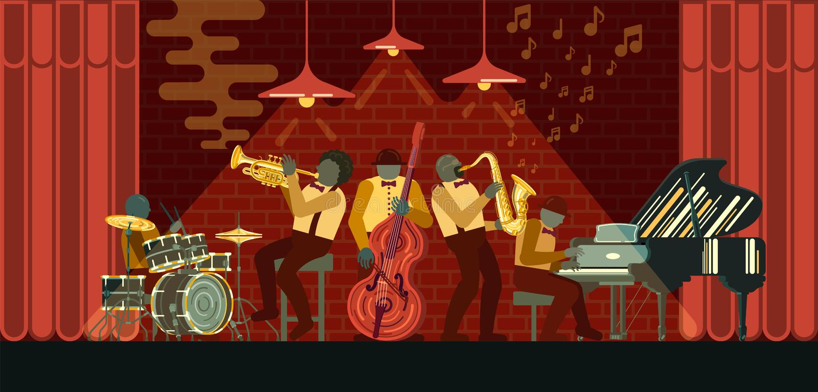 Jazz Band playing on musicail instruments piano, saxophone, double-bass, cornet and drums in Jazz Bar vector illustration