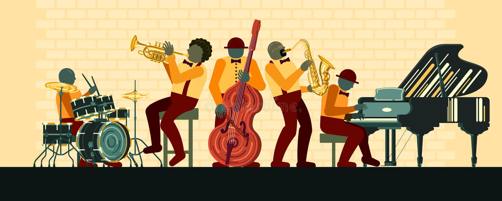 Jazz Band playing on musicail instruments piano, saxophone, double-bass, cornet and drums in Jazz Bar. Poster on Jazz day April 30 where Jazz Band playing on royalty free illustration