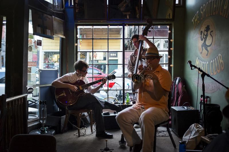 Jazz band playing at the Spotted Cat Music Club in the city of New Orleans, Louisiana royalty free stock photo