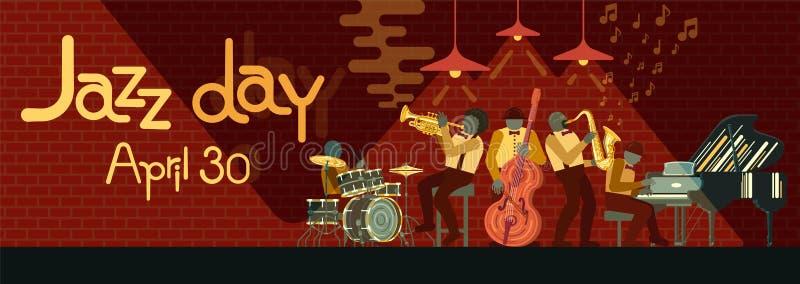 Jazz Band que joga no piano, no saxofone, no contrabaixo, no cartucho e nos cilindros dos instrumentos do musicail em Jazz Bar ilustração royalty free
