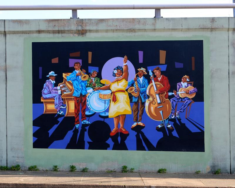 Jazz Blues Big Band Mural op James Road in Memphis, Tennessee stock foto