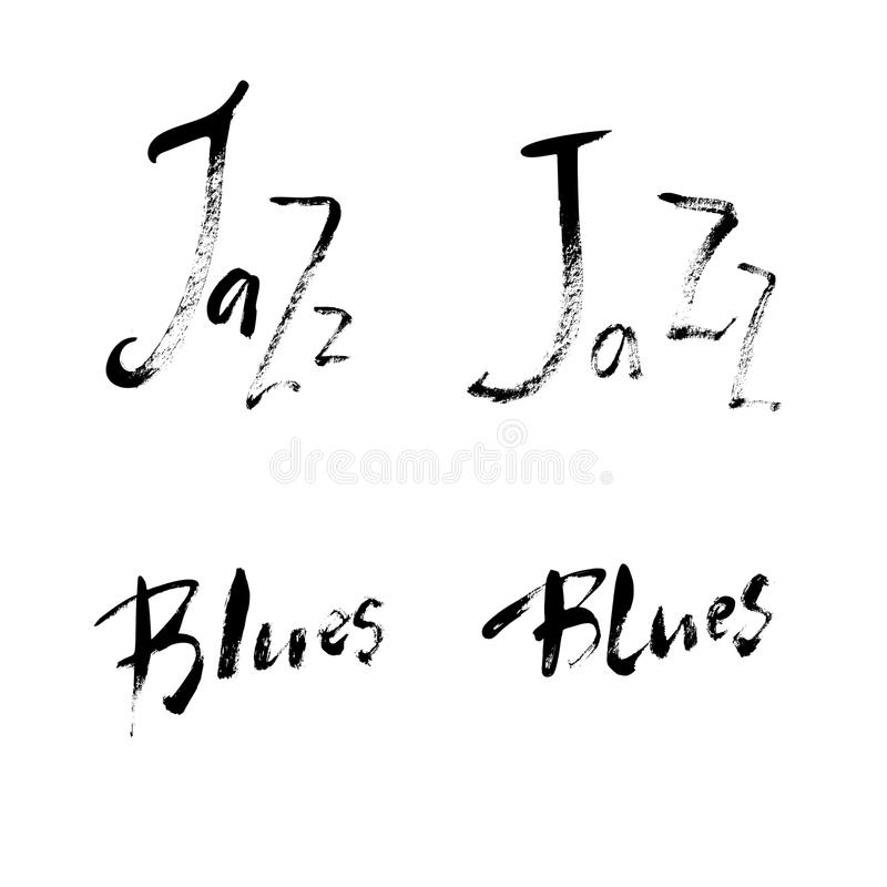 Jazz Blues lettering set. Vector ink hand drawn design. Brush pen design for Music poster. Can be used for music events royalty free illustration
