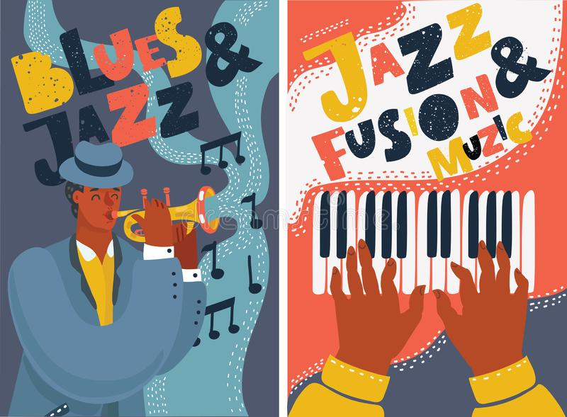Jazz and blues music festival colorful posters stock illustration
