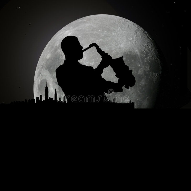 Jazz blues musician at moonlight. Vector illustration as silhouette of jazz or blues musician playing on his saxophone at night with full moon and new york