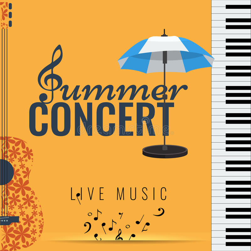 Jazz and Blues summer music consert. Poster background template. Summer concert Jazz and Blues music festival. Poster background template with flying musical stock illustration