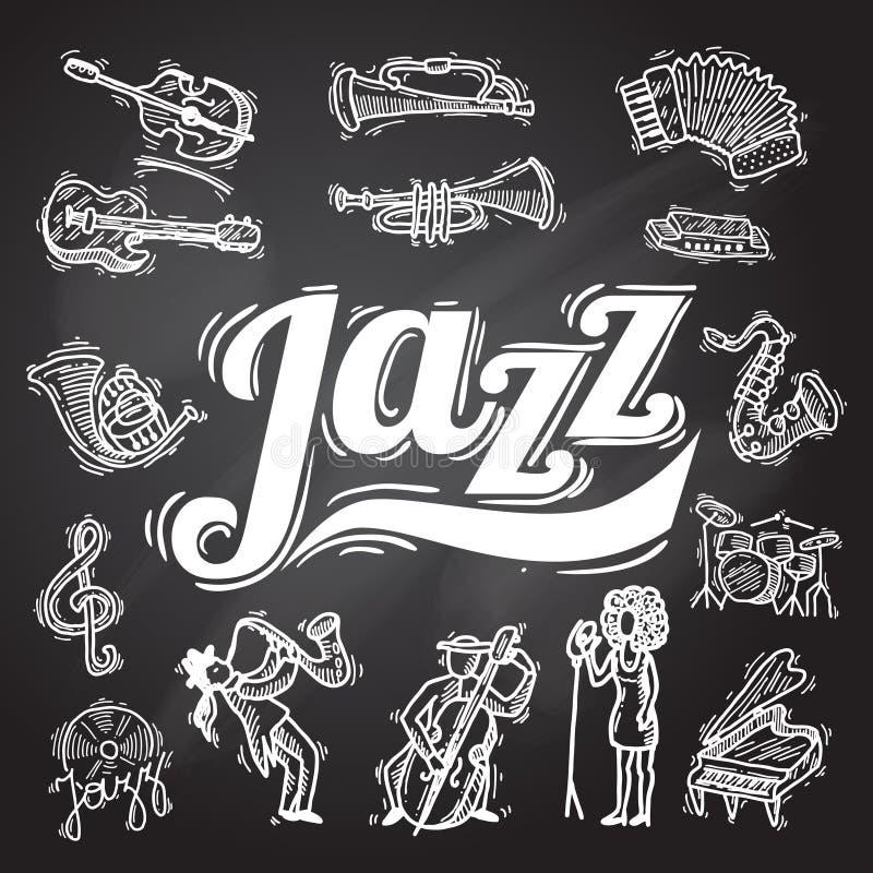 Jazz Chalkboard Set royaltyfri illustrationer