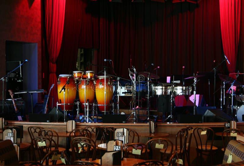 Jazz club. Stage is set in a jazz club