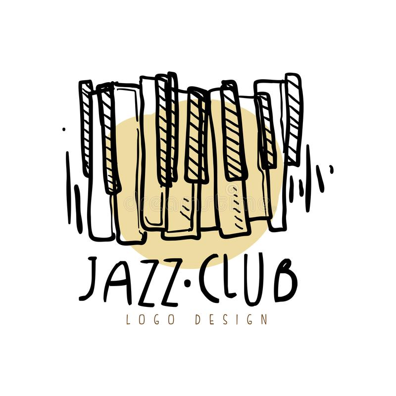 Jazz club logo design, vintage music label with piano keyboard, element for flyer, card, leaflet or banner, hand drawn vector illustration